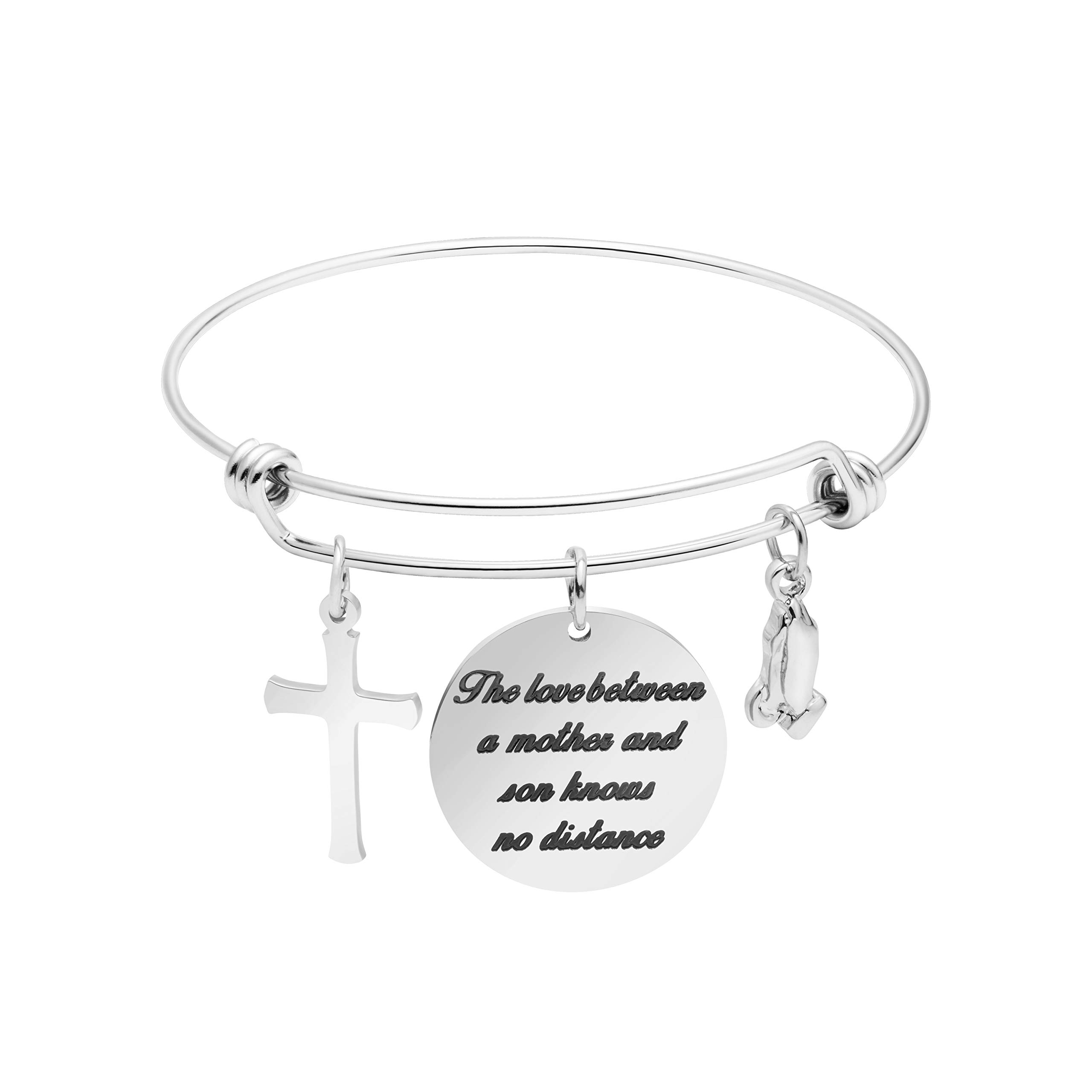 Memgift Gift for Mother Stainless Steel Bracelet The Love Between a Mother and Son Knows No Distance