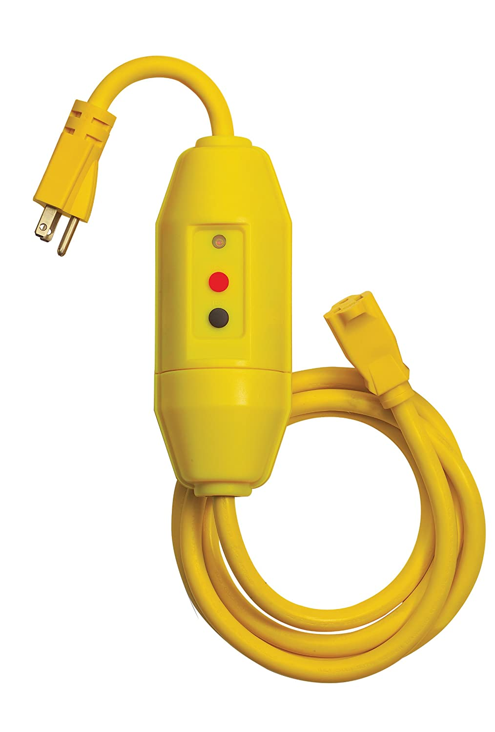 Yellow Tower Manufacturing 30438018 Heavy Duty Commercial Grade 15 AMP Auto-Reset Inline GFCI Cord Set with Single Connector,/ 18 Cord