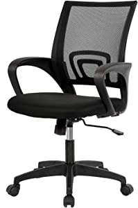 Home Office Chair Ergonomic Desk Chair Mid-Back Mesh Computer Chair Lumbar Support Comfortable Executive Adjustable Rolling Swivel Task Chair with Armrests(Black)