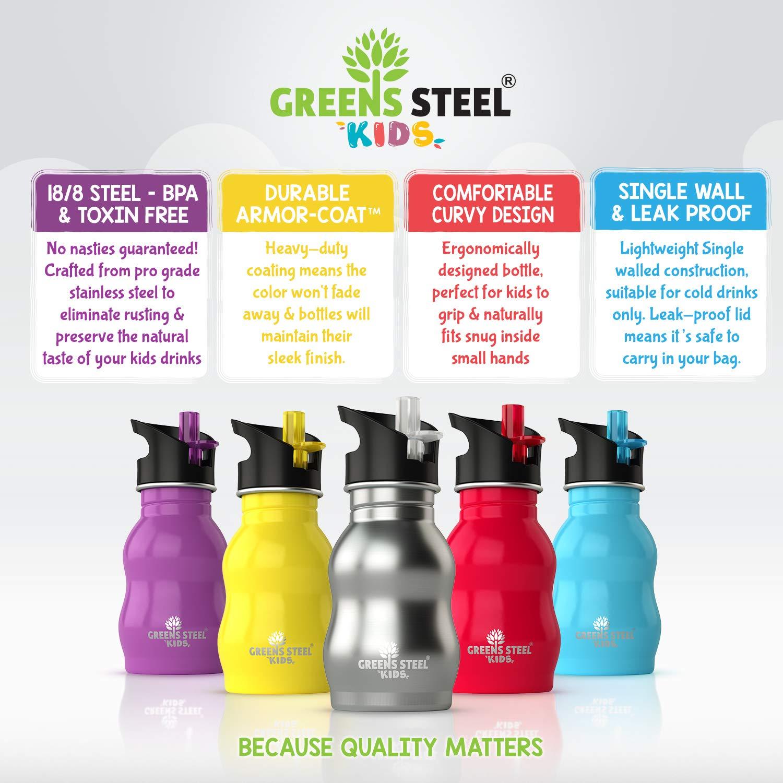 Botella de agua de niño - 350ml Botella a prueba de fugas Tapa con Pitillo - bebe niños cantimplora de acero para niños (acero inoxidable): Amazon.es: Hogar