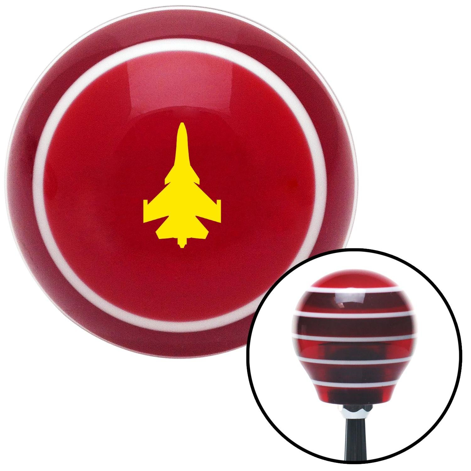 ASCSNX1594961 Yellow Jet Red Stripe with M16 x 1.5 Insert American Shifter 273931 Shift Knob