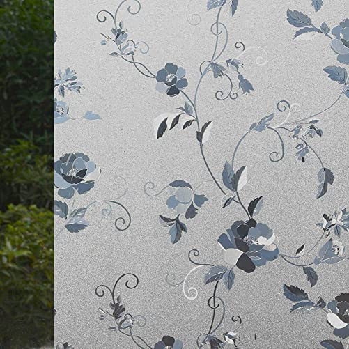 VSUDO 2 Rolls 35.4 by 78.7 Static Cling Window Film for Privacy, Peony Flower Pattern Window Tint for Home, Window Glass Sticker for Office 38.75 Sq. Ft Total