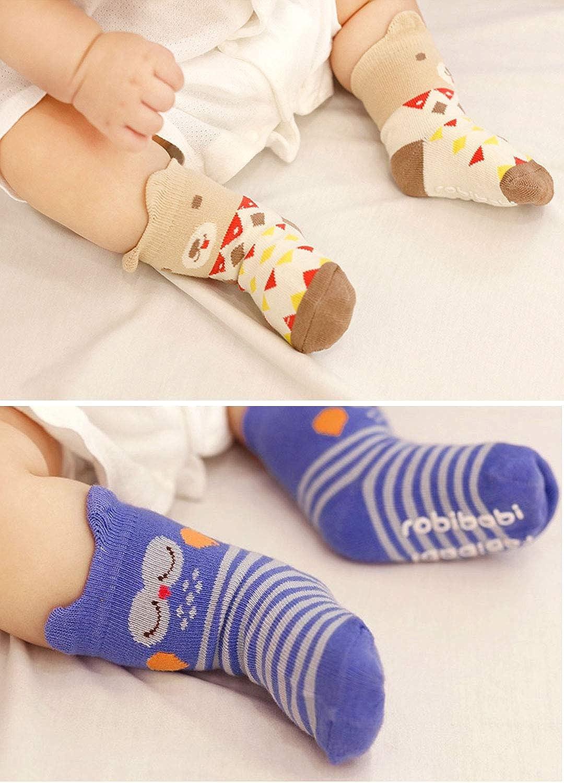 Non Skid Baby Girls Socks Toddler Boys Anti Slip Socks 6 pairs Infants Socks Kids Cute Animal Print Cotton Socks with Grips 0-30 months