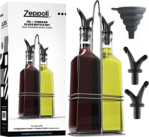 Zeppoli Oil and Vinegar Bottle Dispenser Set