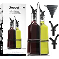 Zeppoli Oil and Vinegar Bottle Dispenser Set with Stainless Steel Rack and Removable Cork - Dual Spout, Pouring Funnel…