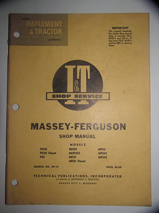 Amazon.com: All States Ag Parts I&T Shop Manual Massey Ferguson 202 ...