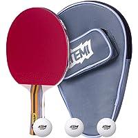 Atemi - Set de 3 Piezas de Pala de Ping Pong de 5 Estrellas Sniper: Funda, 3 Pelotas y Raqueta de Tenis de Mesa | Juego Polivalente Profesional y Principiante | Velocidad, Giro y Control Avanzados