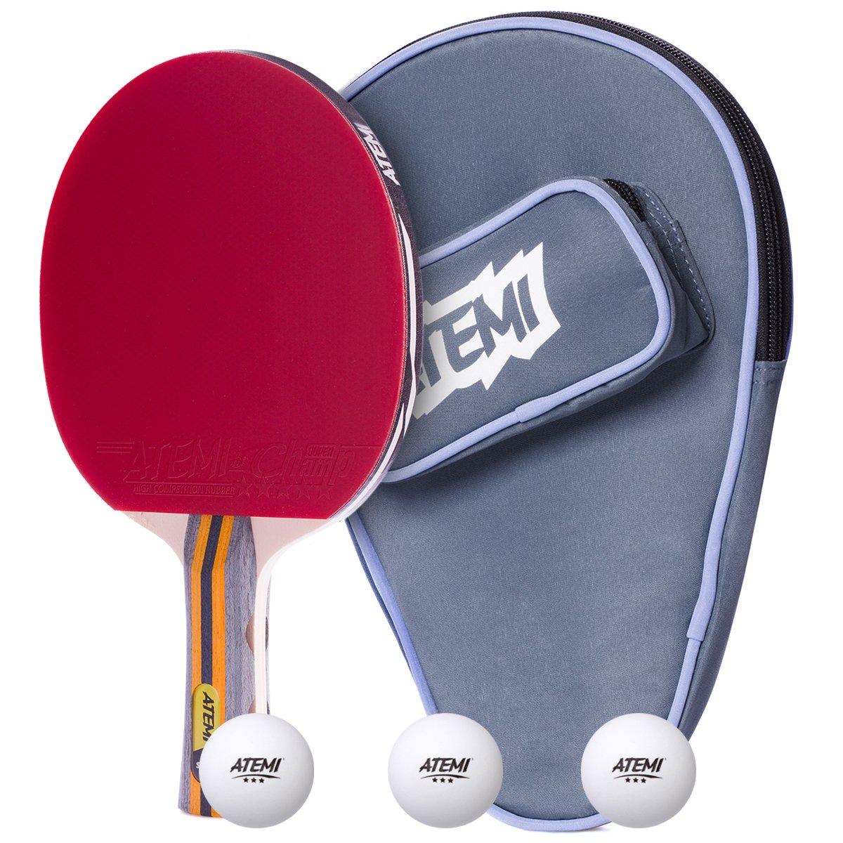 Velocidad Atemi 3 Pelotas y Raqueta de Tenis de Mesa Giro y Control Avanzados Set de 3 Piezas de Pala de Ping Pong de 5 Estrellas Sniper: Funda Juego Polivalente Profesional y Principiante