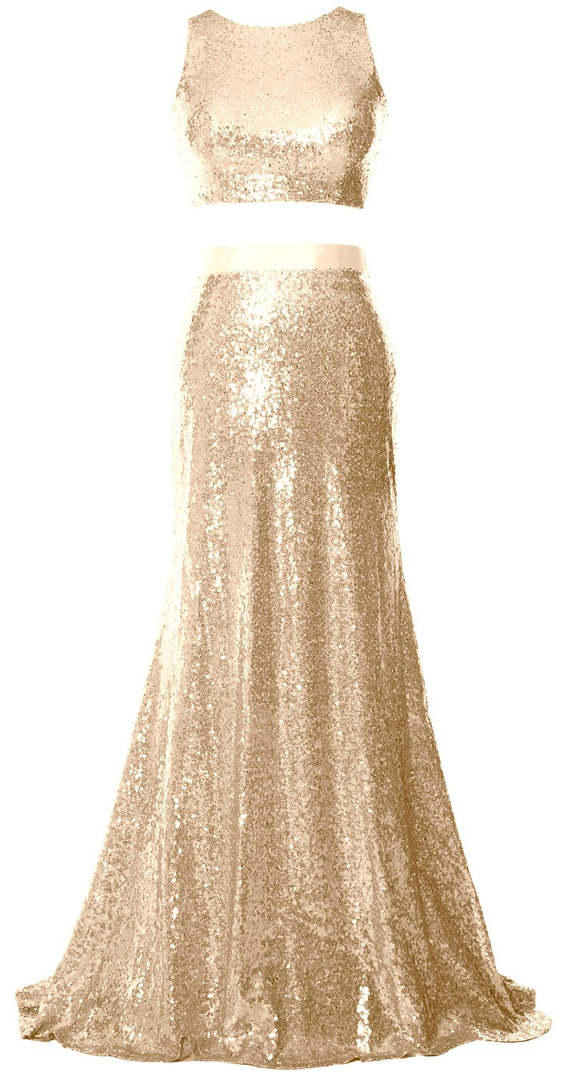 MACloth Mermaid 2 Piece Prom Dress Crop Top Sequin Formal Party Evening Gown (18w, Champagne)