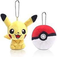 (Pikachu + Pokeball Keychain) - Finex Set of 2 Pikachu Pokemon Yellow Plush Male Pikachu Pokeball Beaded Chain Keychain…