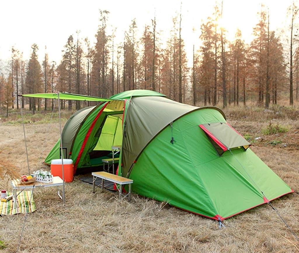 Yunyisujiao Im Freien wasserdichte Sonnencreme Camping 3-4 Personen Zwei Zimmer und EIN Wohnzimmer Familie Zelt Rucksack Zelt (Color : Green) Green