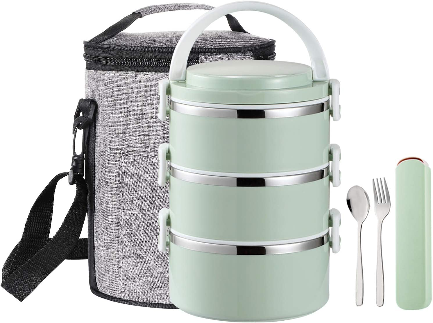 YBOBK HOME Stainless Steel Lunch Box Thermal Hot Leakproof Japanese Round Cylinder Triple Stackable Solid Bento Lunch Box with Insulated Bag and Portable Flatware Utensil Set for Adult (Green)