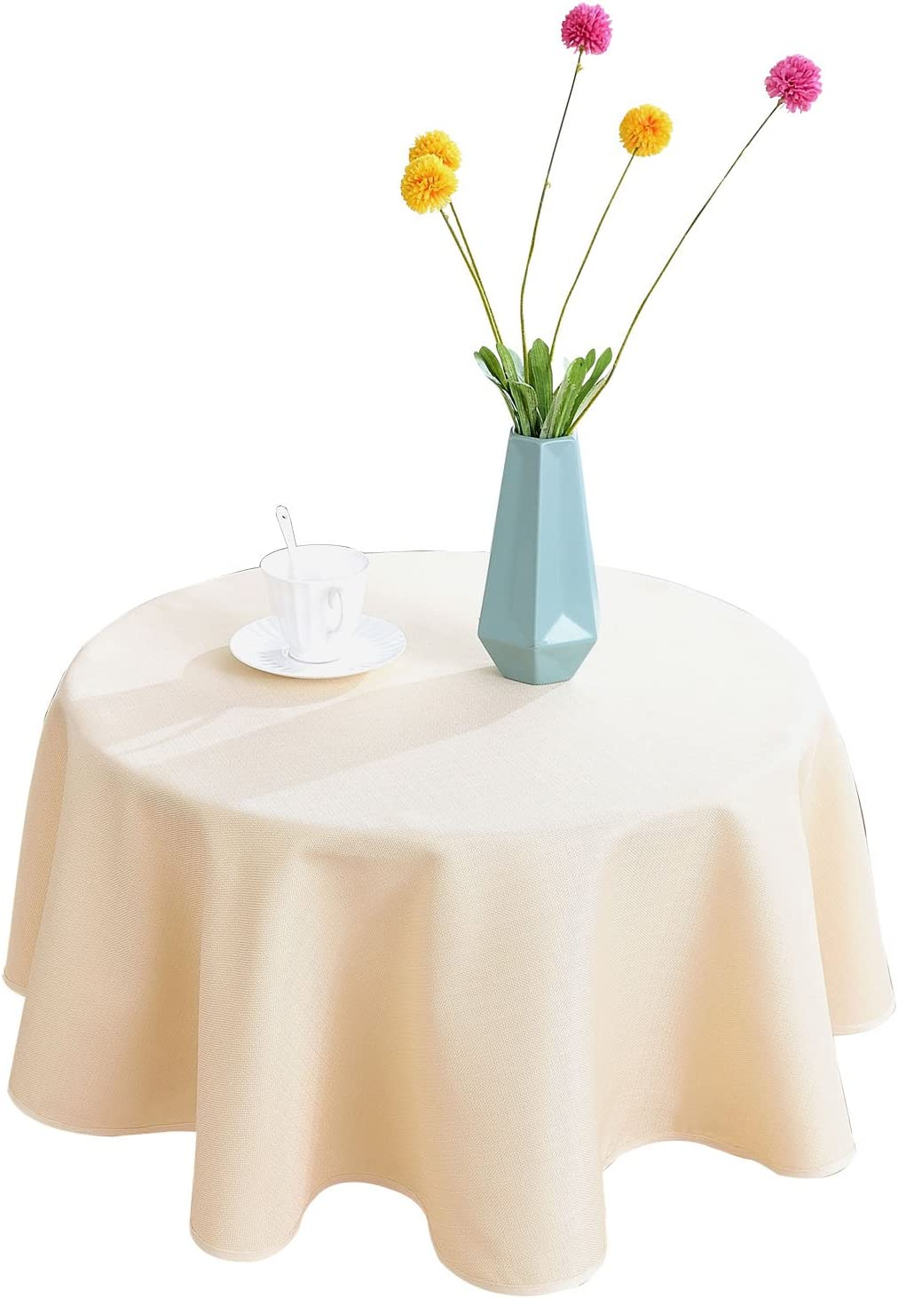 HIGHFLY Linen Round Tablecloth 47 inch Waterproof and Stain Resistant Beige Table Cloth for Home Party Coffee bar