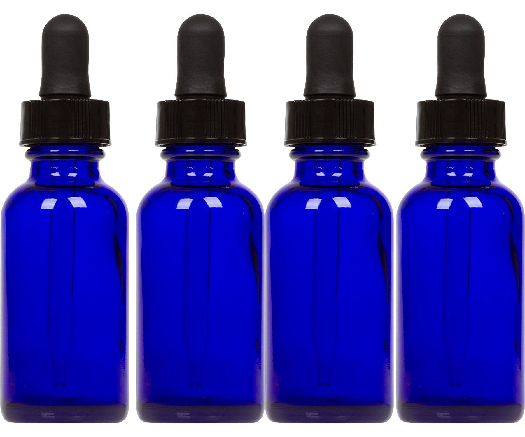 Cobalt Glass Bottles with Eye Droppers (2 oz, 4 pk) For Essential Oils, Colognes & Perfumes, Highest Quality, Blank Labels Included