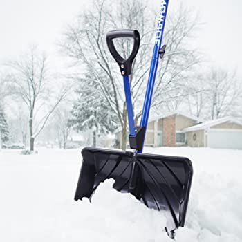 Image: Snow Joe SHOVELUTION 18-IN Strain-Reducing Snow Shovel with Spring Assisted Handle