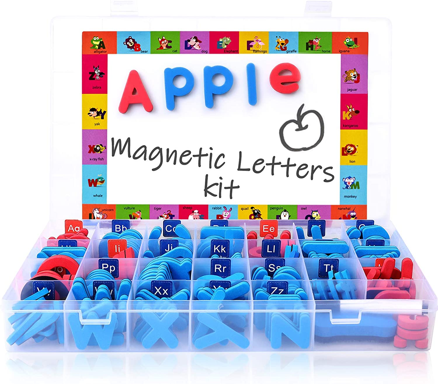 156PCS Magnets Alphabet Letters for Kids ABC Magnets Preschool Educational Toys Magnetic Letters for Toddlers with Magnetic Board and Storage Box
