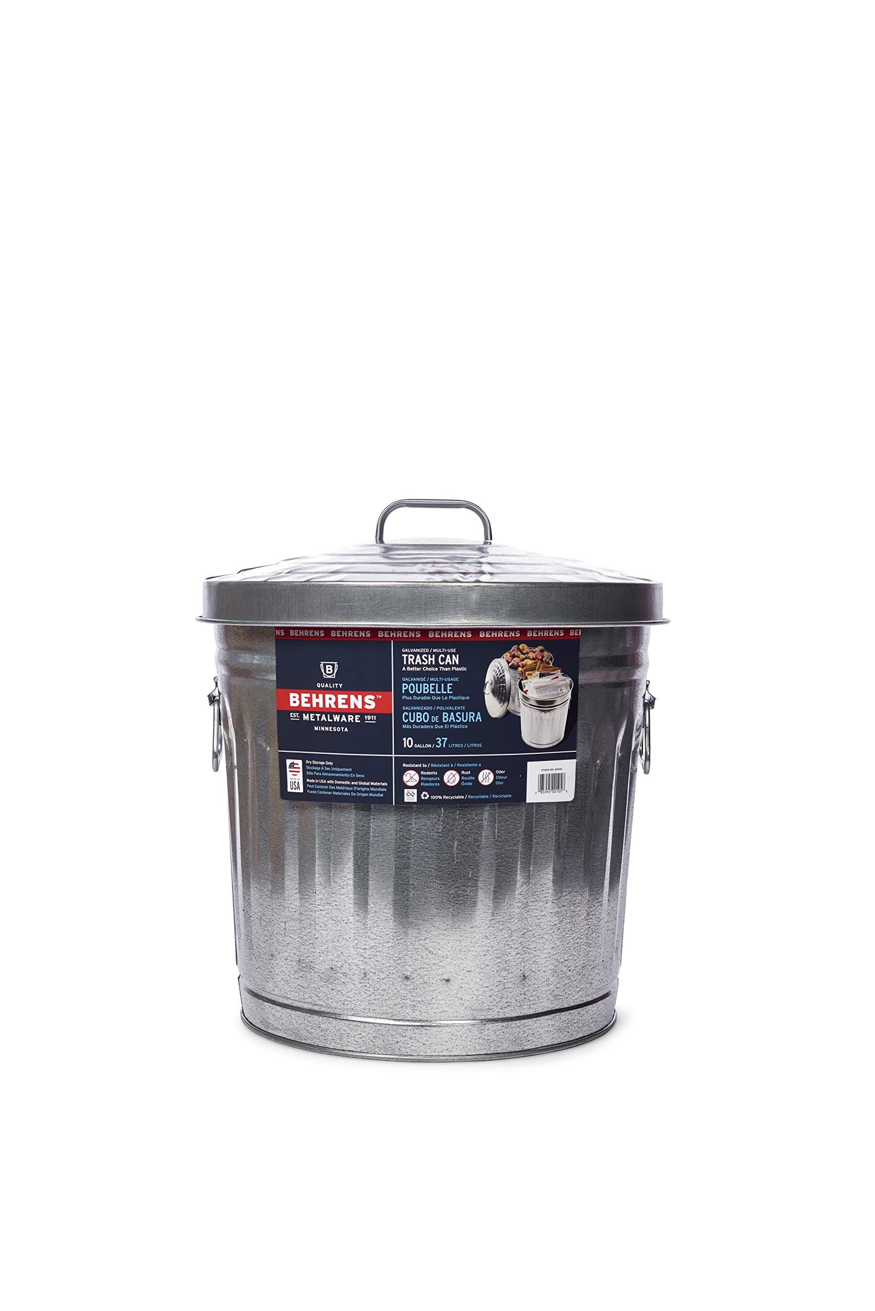 Behrens Manufacturing 6210 Galvanized Steel Trash Can, 10-Gallon by Behrens Manufacturing