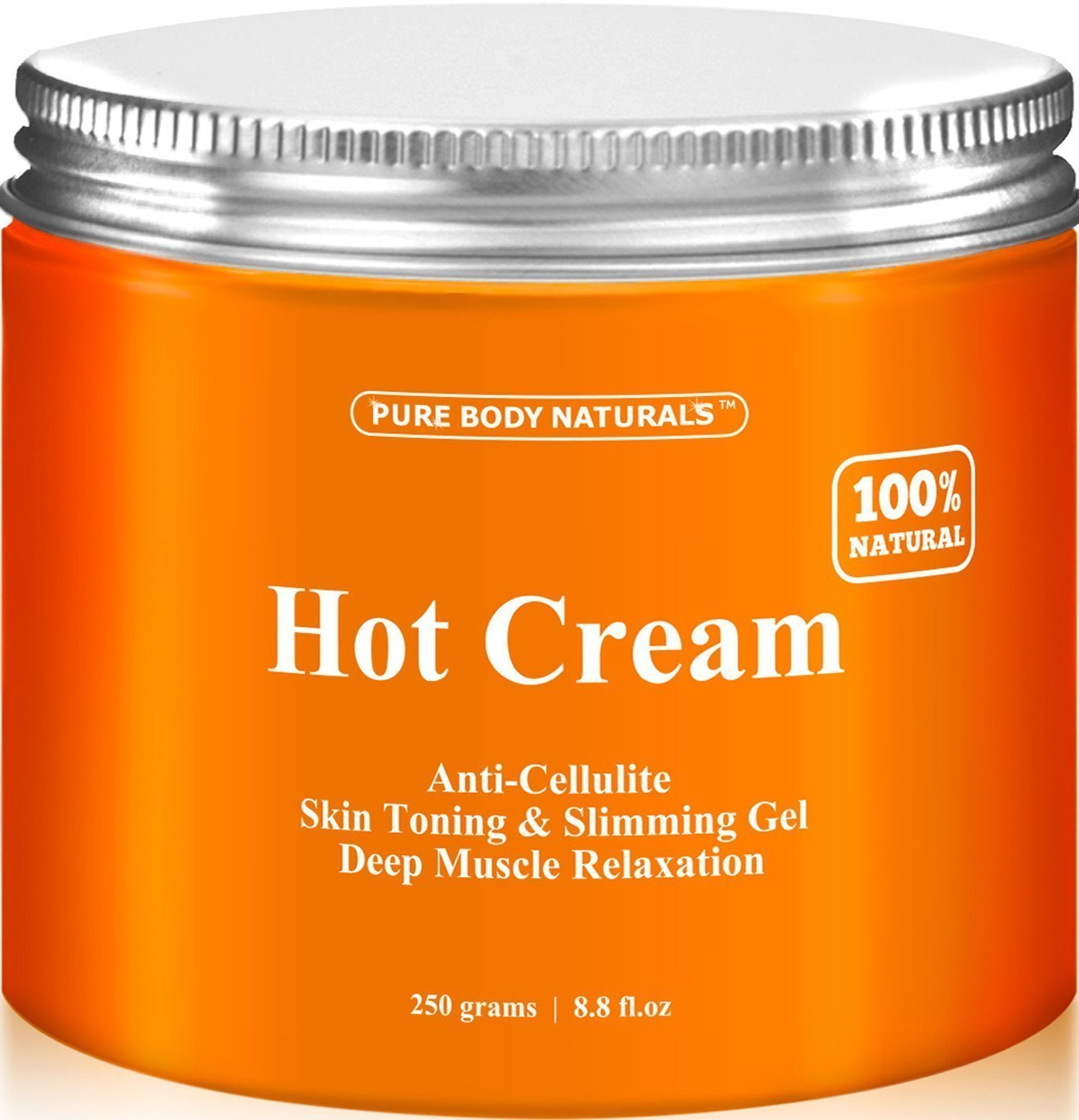 Pure Body Naturals Hot Cream, for Cellulite and Muscle Relaxation, 8.8 Ounce by Pure Body Naturals