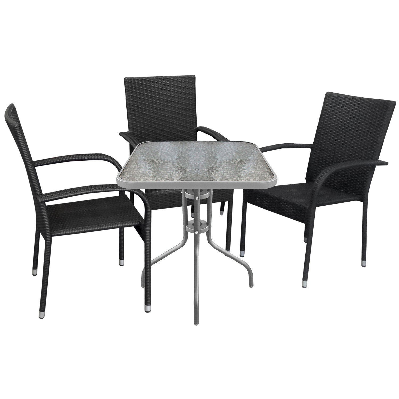 4tlg. Bistrogarnitur Gartengarnitur Bistrotisch 60x60xH71cm Gartentisch mit Tischglasplatte inkl. schwarzer Stapelstuhl mit Poly-Rattanbespannung Sitzgruppe Campingmöbel Gartenmöbel Set