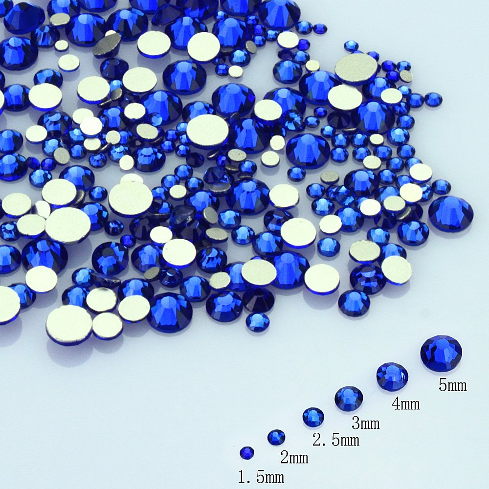 LolliBeads Resin Crystal Round Nail Art Mixed Flat Backs Acrylic Rhinestones Gems,Mix Size 1.5-5 mm, Color Turquoise Blue (1200Pcs) RS616066