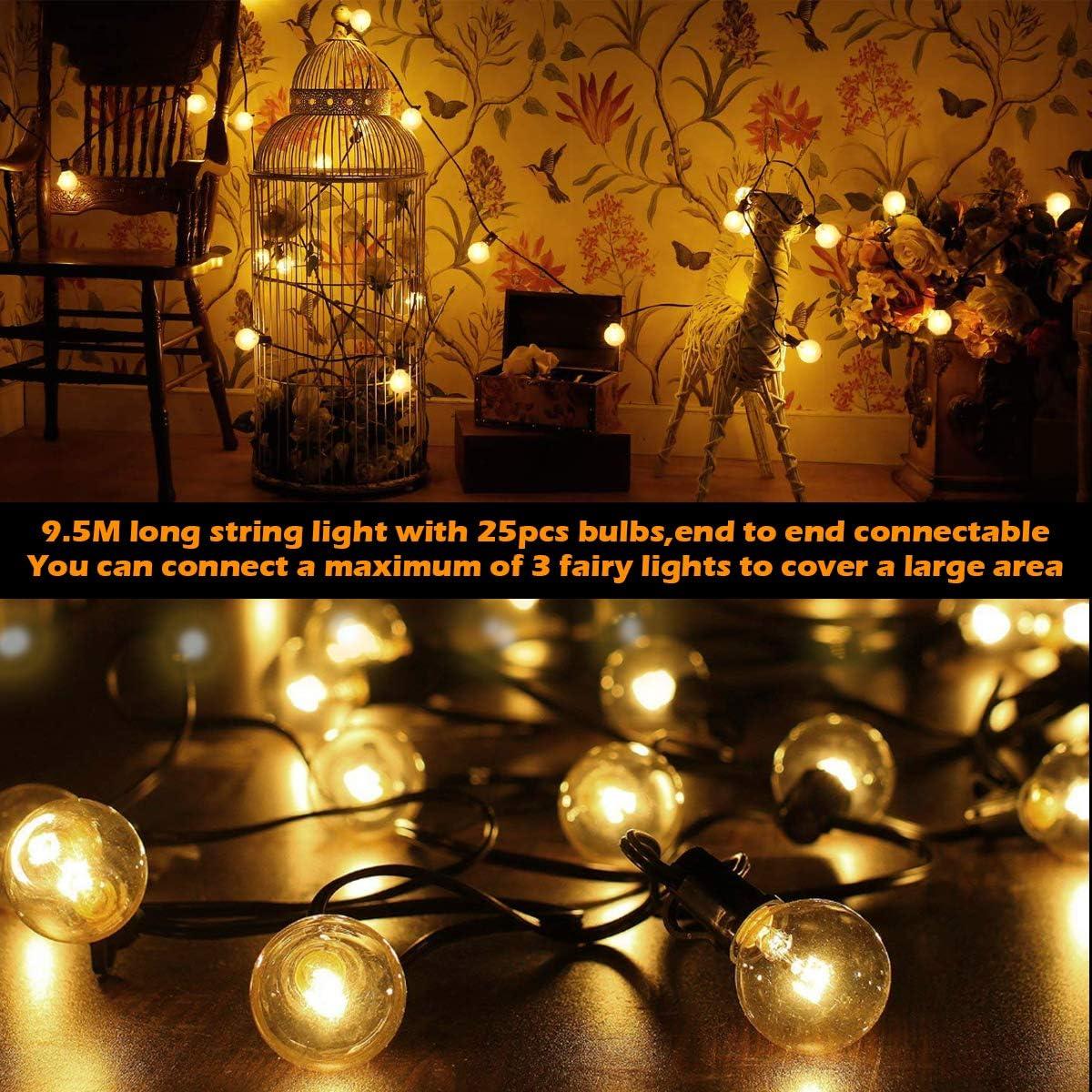 Globus Lichterkette BACKTURE G40 Au/ßen//Innen 9,5m 25 Gl/ühbirnen mit 4 Ersatz Warmwei/ß UL gelistete Lichterketten Beleuchtung f/ür Xmas Garten Terrasse Hochzeit Hof Haus Party Dekoration