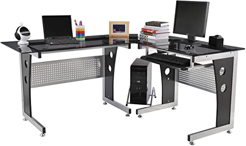 HomCom 64 Modern L-Shaped Dark Glasstop Office Workstation Computer Desk – Black