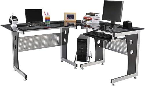 HomCom 64 Modern L-Shaped Dark Glasstop Office Workstation Computer Desk