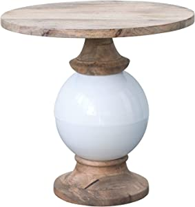 Creative Co-Op Mango Wood and Metal Round Pedestal Table, White