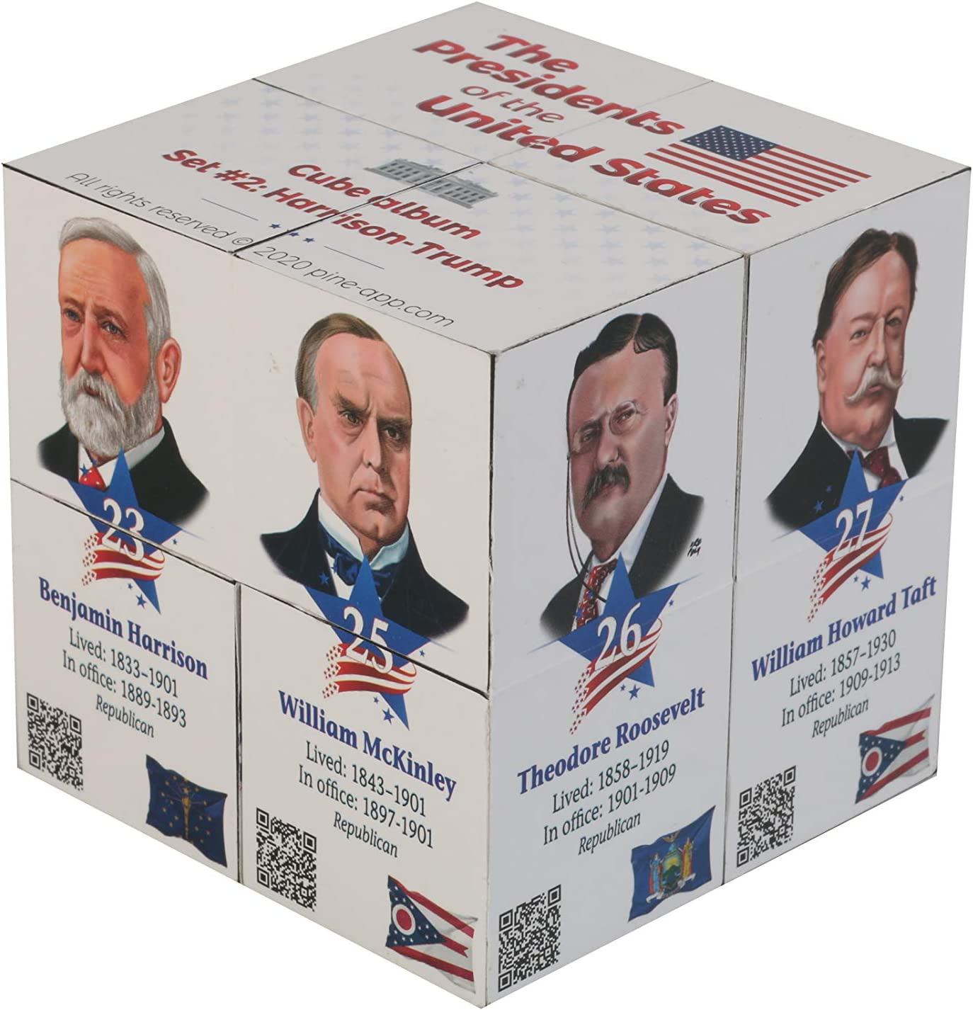 U.S Presidents Infinity Cube - Original, Fun 3D Educational for Kids and Adults - Learn About 22 American Presidents in an Easy and Entertaining Way - for History Buffs Set #2
