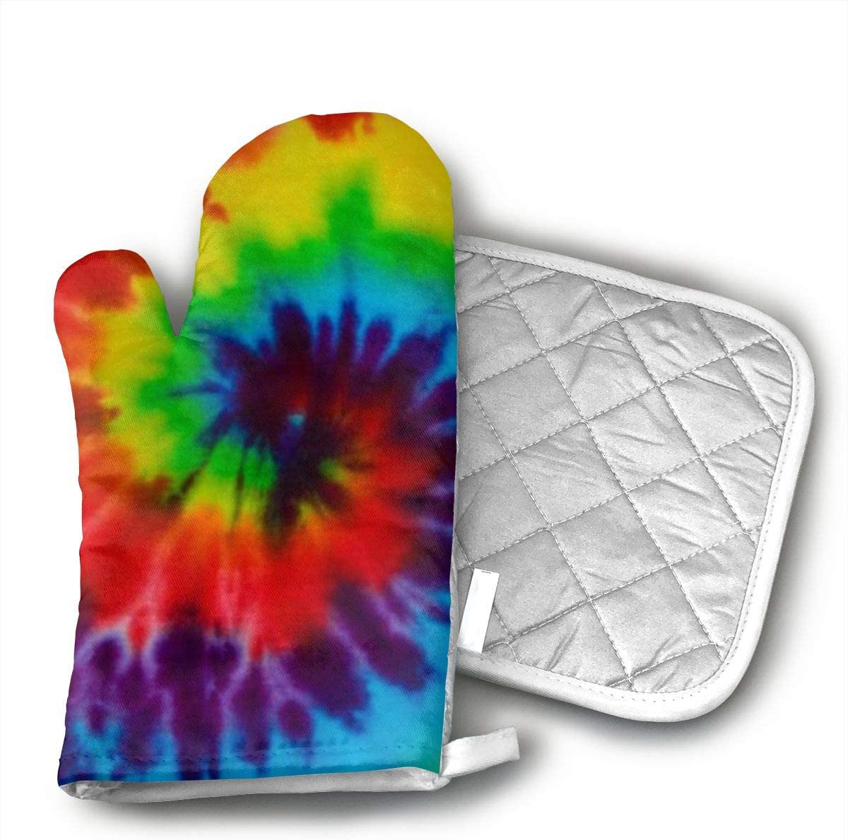 HAIQLK Tie Dye Oven Mitts for Kitchen Heat Resistant, Oven Gloves for BBQ Cooking Baking, Grilling,