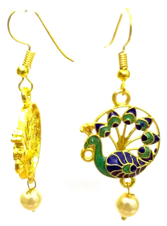 DESI HAWKER Peacock Meenakari Minakari Enamel Paint Golden Handmade Earring Bali Jhumki Jhumka Jewelry Ethnic Drop Dangle NI-306