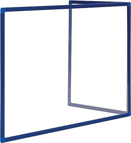 Bi-Office Mampara Vidrio Templado Sobremesa Marco Aluminio Lacado Azul en Forma L, 90 x 60 cm And 45 x 60 cm: Amazon.es: Oficina y papelería