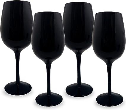 lot de 4 Noir verres à vin