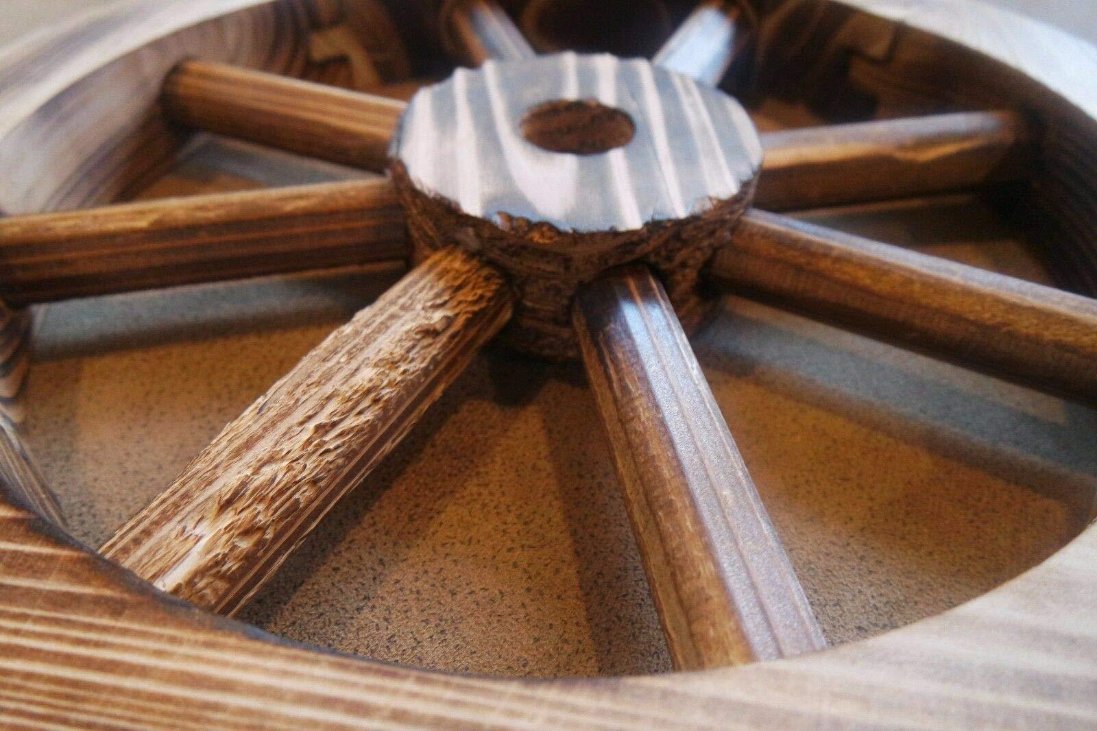 Galapagoz Wooden Wagon Wheels Burnt Wood Wheel Look Garden Decor Table Centerpiece Decorative 12'' 2 Pack US by Galapagoz (Image #4)