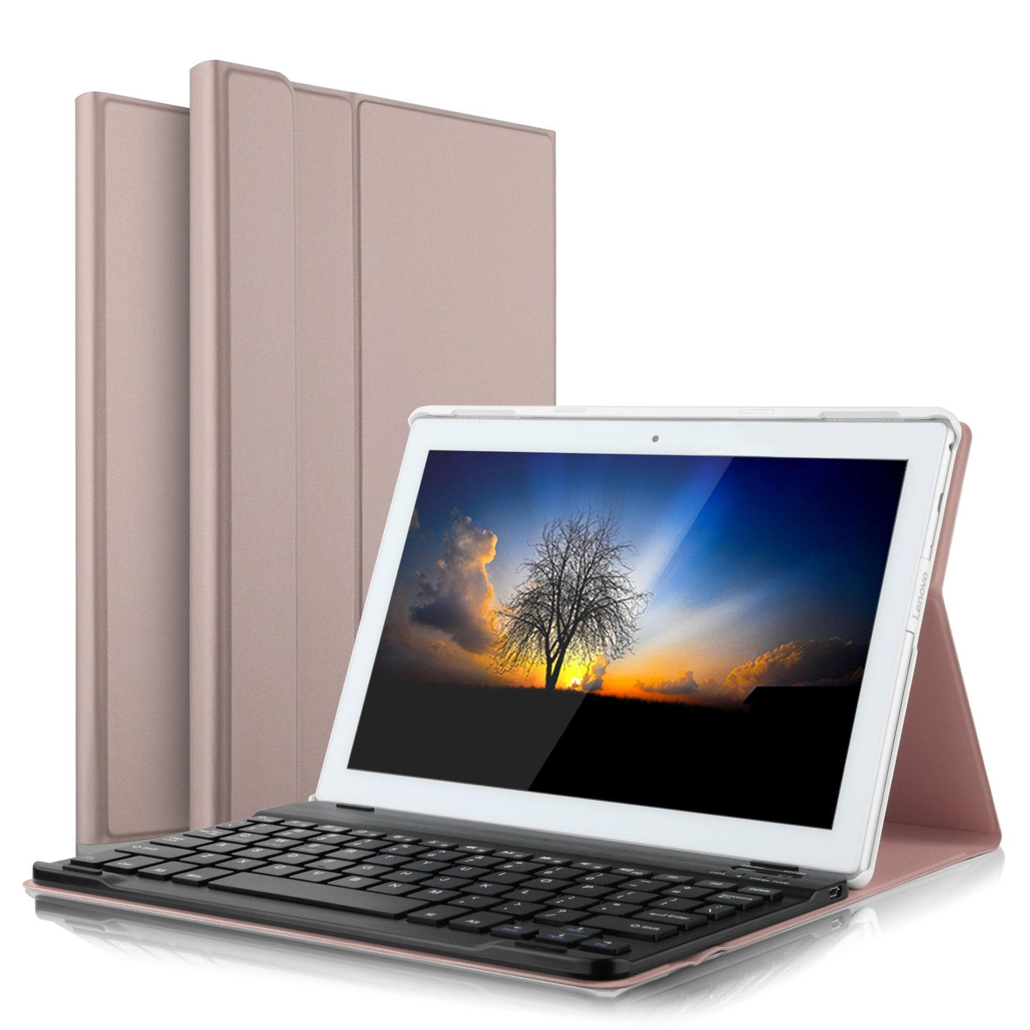 IVSO Lenovo TAB 4 10 Keyboard Case Ultra-Thin Detachable Wireless Keyboard Stand Case/Cover for Lenovo TAB 4 10 Tablet(Rose Gold)