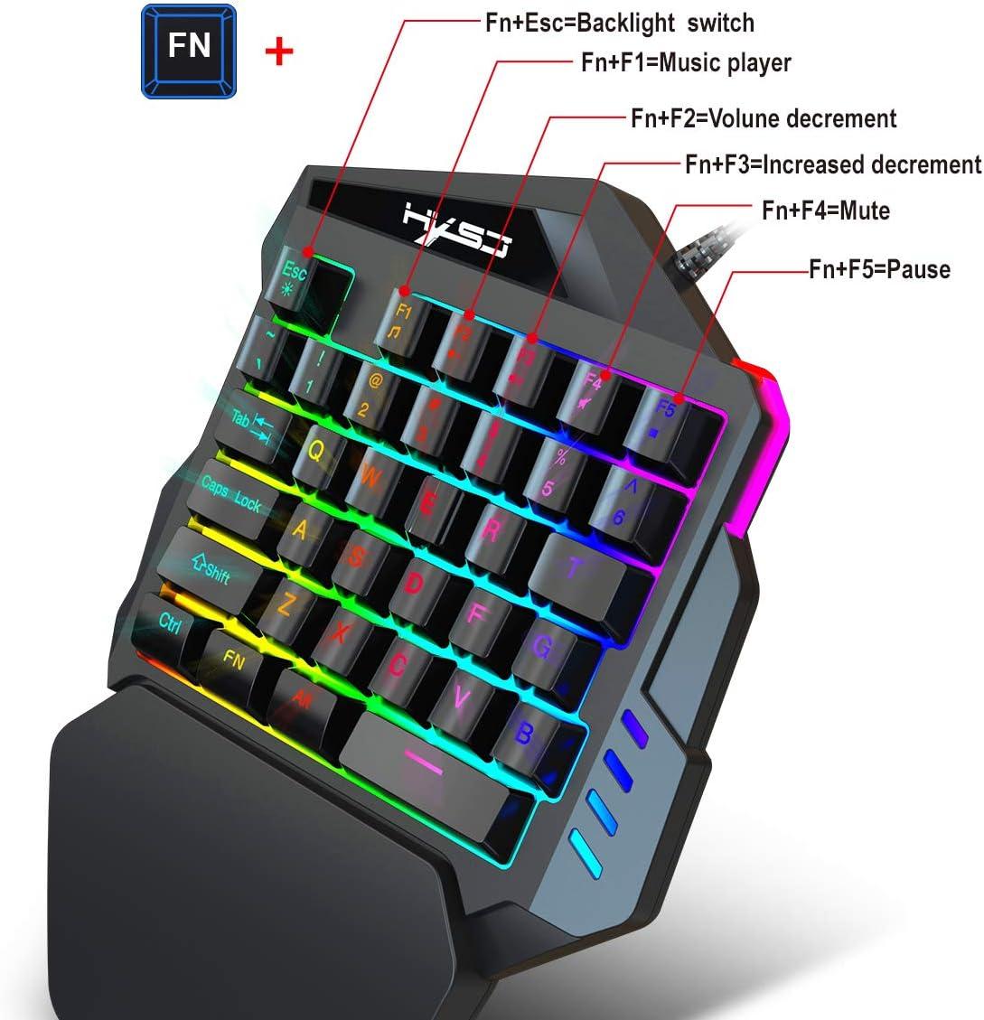 35-Key,Support Wrist Rest One-Handed Keyboard Black Mechanical Gaming Keyboard RGB LED Backlit for PC Computer /& Smartphones