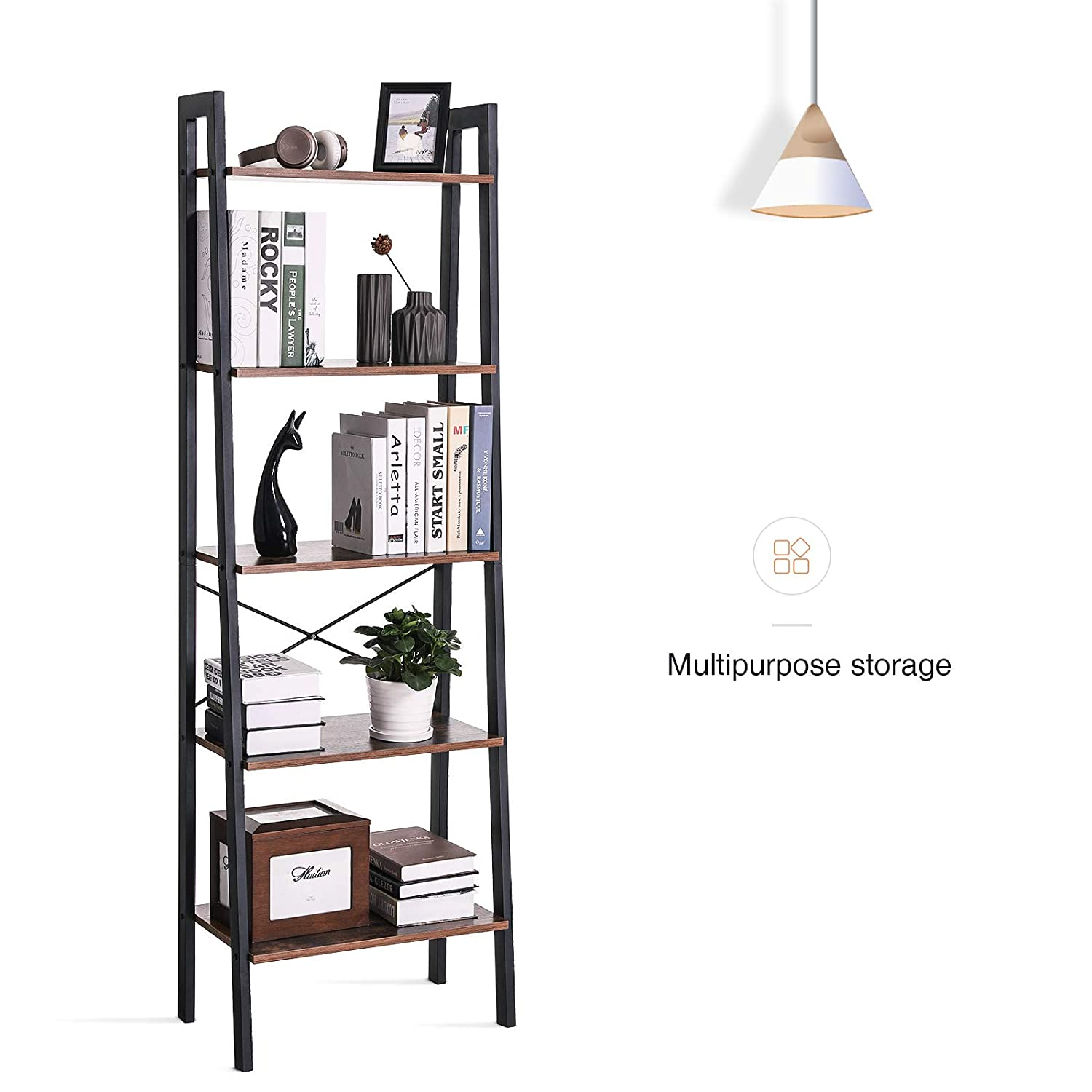 VASAGLE Industrial Ladder Shelf 5-Tier Bookshelf Bookcase and Storage Rack for Home Office Wood Look Accent Furniture with Metal Frame Rustic Brown ULLS45X