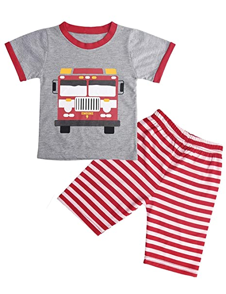 c1c72f18f Amazon.com  Little Boys Short Set Pajamas for Boys 100% Cotton ...