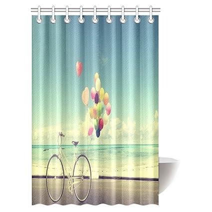 Amazon INTERESTPRINT Vintage Bike Shower Curtain Love In