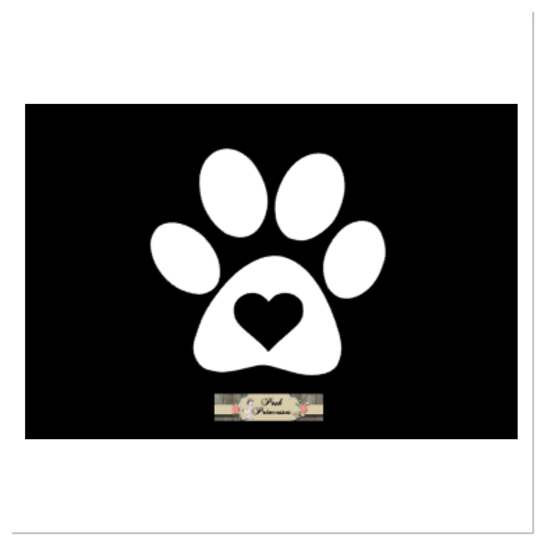Amazon com dog paw print with heart vinyl decal car window decal laptop sticker dog food decal white 3 x 3 handmade