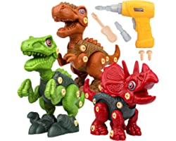 Sanlebi Toy for 4 5 6 Year Old Boys Take Apart Dinosaur Toys for Kids Building Toy Set with Electric Drill Construction Engin