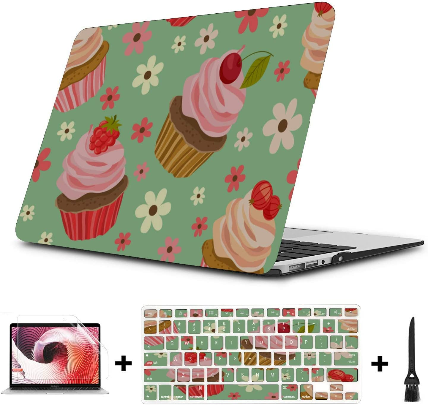 MacBook Protector Sweet Beautiful Colorful Cup Cake Plastic Hard Shell Compatible Mac Air 11 Pro 13 15 MacBook Protective Case Protection for MacBook 2016-2019 Version