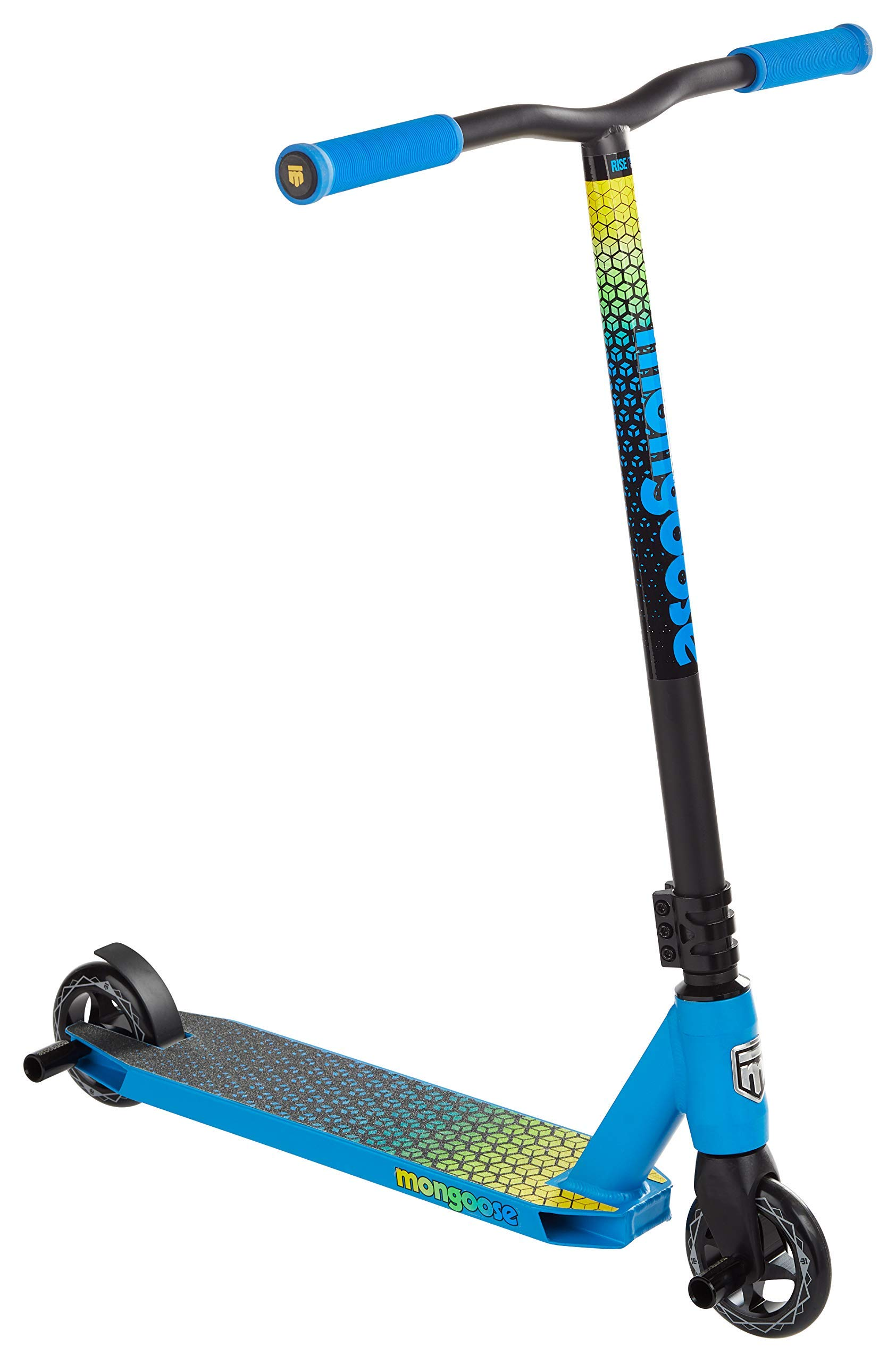 Mongoose Rise 100 Elite Freestyle Stunt Kick Scooter, Lightweight Alloy Deck with Full-Coverage Max Grip and Bike-Style Handlebars, Wheel Pegs Included, 110mm Alloy Wheels, Blue/Yellow (Renewed) by Mongoose