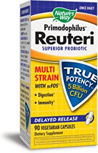 Nature's Way Primadophilus® Reuteri Superior Probiotic Multi Strain with scFOS Delayed Release, 90 Vcaps (Keep refrigerated to maintain maximum potency)