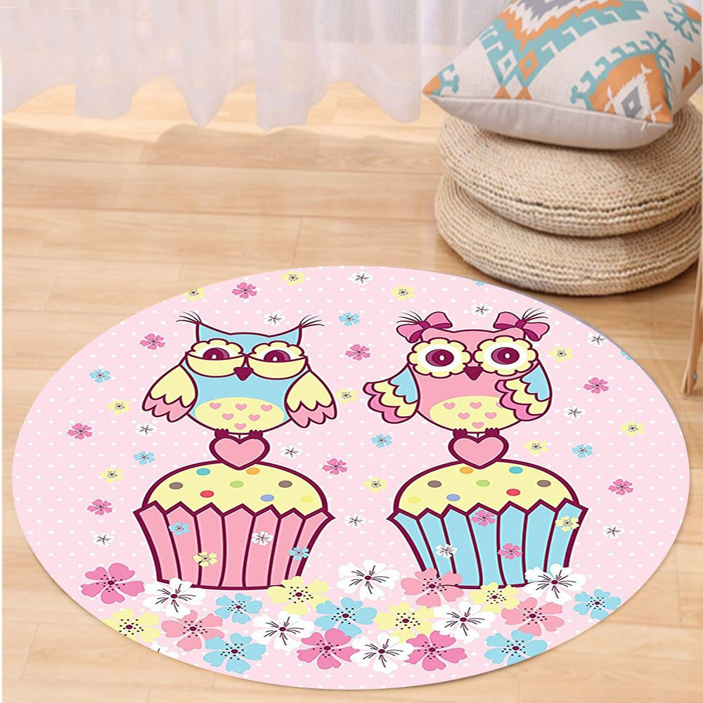 Niasjnfu Chen Custom carpetOwls Home Decor Two Owl Couples On Cupcakes Springtime Happiness Romantic Occasions Children Art Bedroom Living Room Dorm Decor