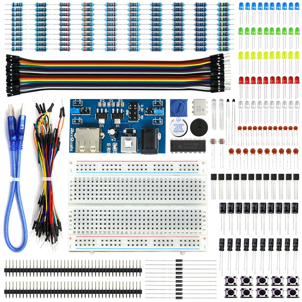 Rexqualis Electronics Basic Kit W Power Supply Module Too Complicated For A Breadboard Build Electronic Circuits Jumper Wire Ledresistor Arduino Raspberry Pi Computers Accessories