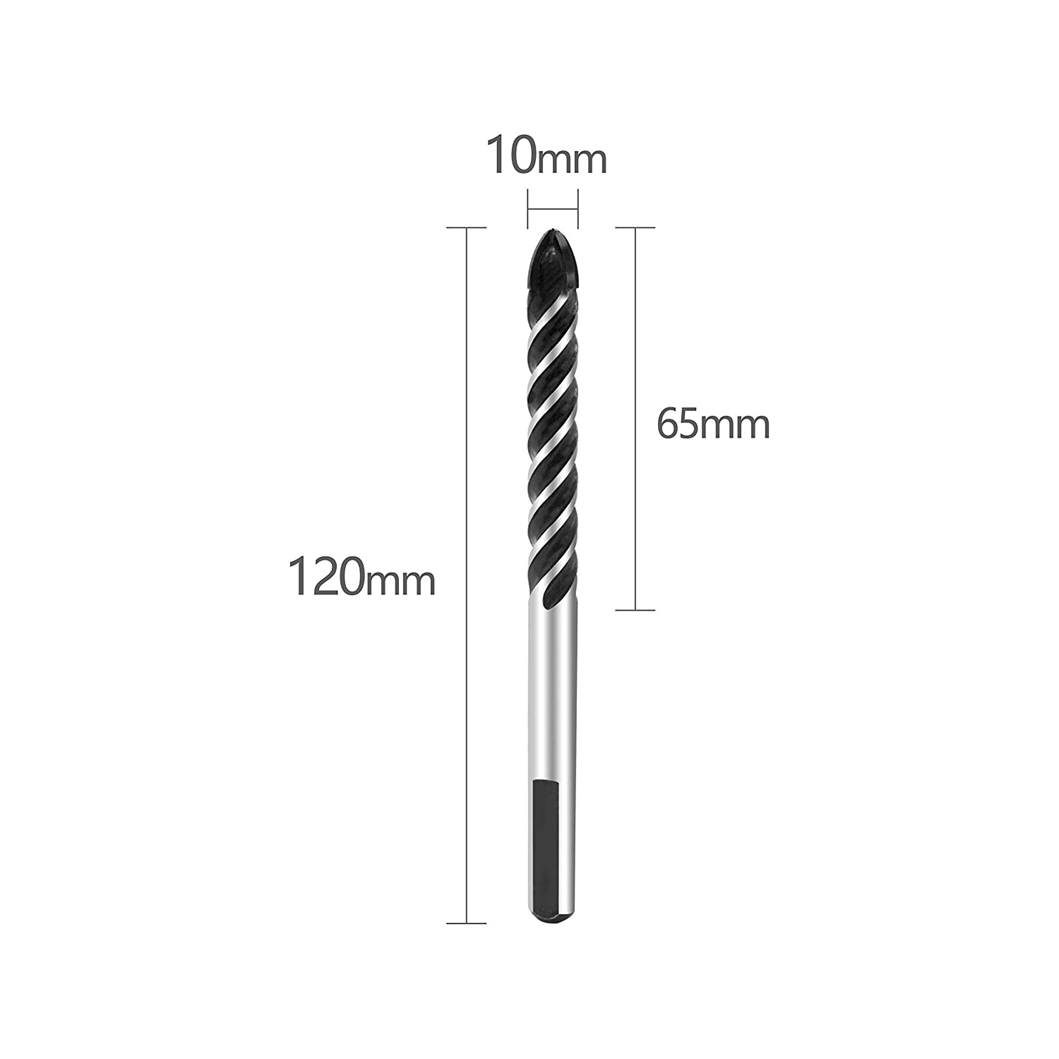 Tungsten Carbide Tip Drill Bits for Porcelain Ceramic Tile 4 Cutting Edges Cross Spear Head Pack of 5 Glass Plastic Wood Brick Wall Concrete Mirrors Masonry Drill Bits Set 10mm