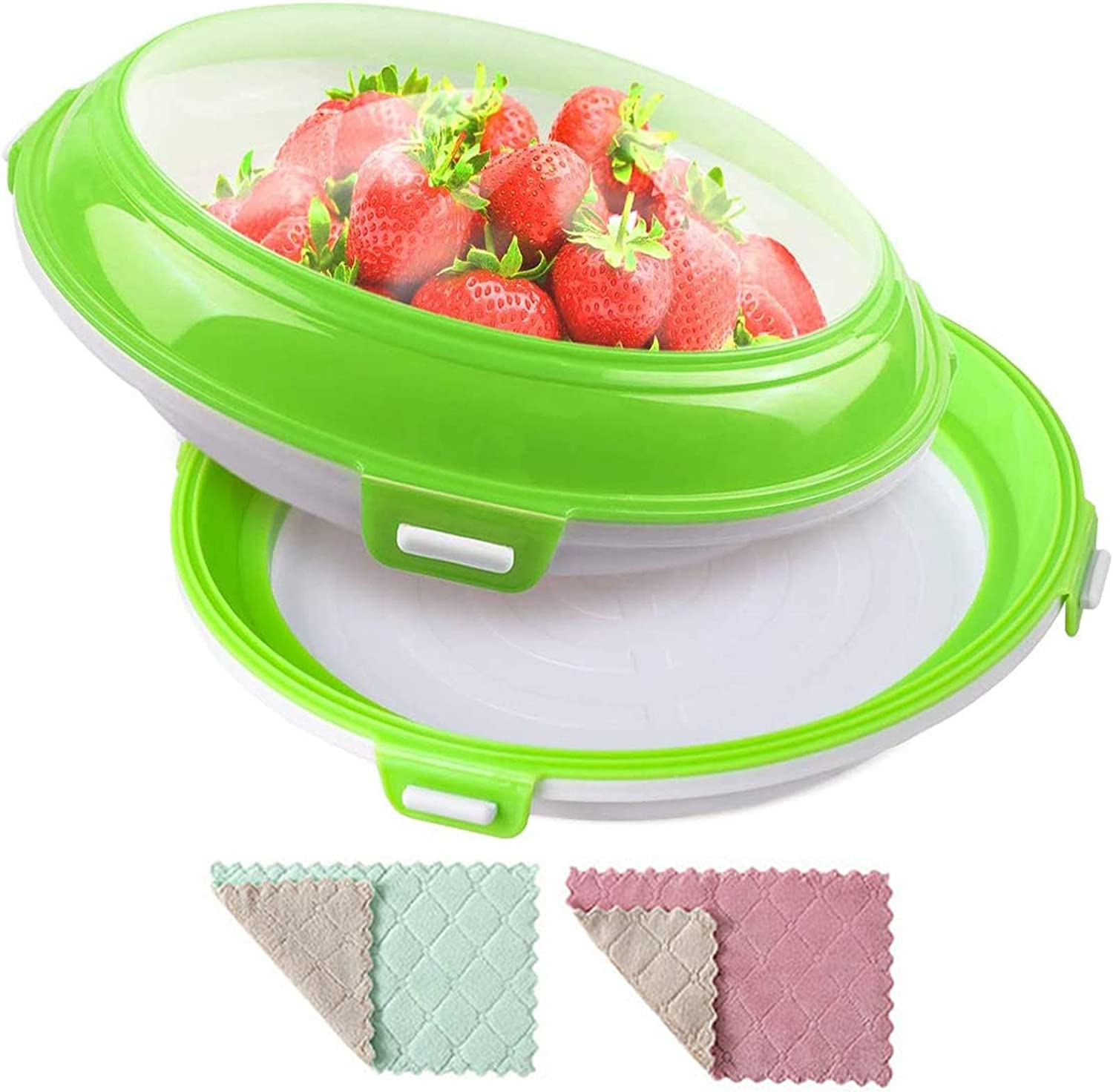 Food preservation trays perfect trays food storage stackable reusable refrigerator and freezer plastic food trays 2 pieces 2 free towels(Green)