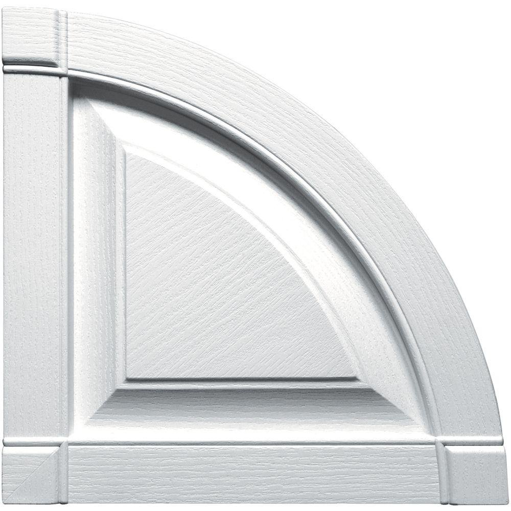 Builders Edge 15 in. x 15 in. Raised Panel Design White Quarter Round Tops Pair #001