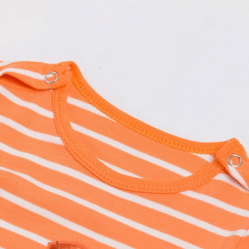 Baby Girls Boys Pumpkin Orange Striped Footed Romper Halloween Pajamas Hat